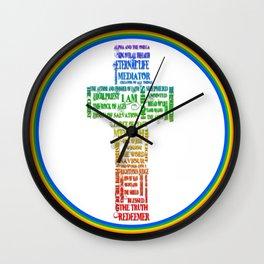 Names of Jesus Cross Wall Clock