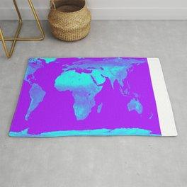 World Map Turquoise & Purple Rug