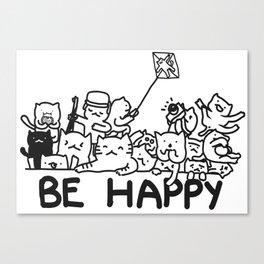 Be Happy Cats Doodle Canvas Print