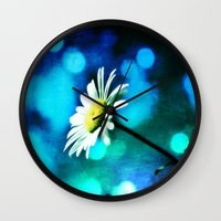 malachite Wall Clocks featuring Azurite Malachite Daisy  by minx267