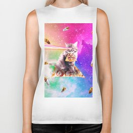 Outer Space Pizza Cat - Rainbow Laser, Taco, Burrito Biker Tank