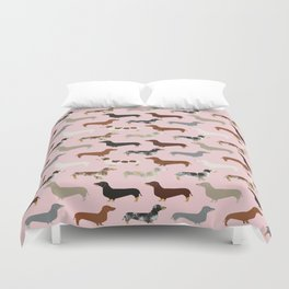 Dachshund doxie pet portrait hot dog weener dog breed funny small dogs puppy gifts for dachshund  Duvet Cover