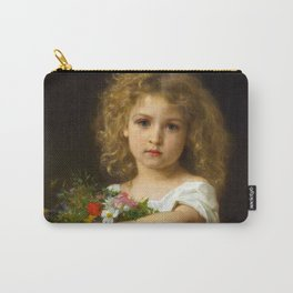 """Gustave Doyen and William Adolphe Bouguereau """"Enfant tenant des fleurs (Child with flowers)"""" Carry-All Pouch"""