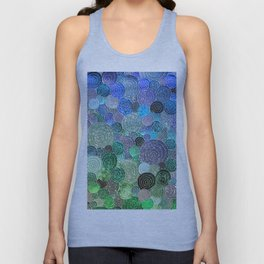 Abstract blue& green glamour glitter circles and polka dots for ladies Unisex Tank Top