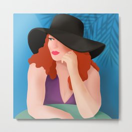 Red Haired Woman In A Black Hat Metal Print