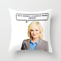 leslie knope Throw Pillows featuring Leslie Knope by Hannah
