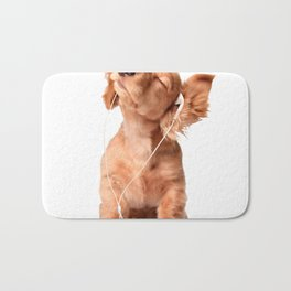 Young Puppy Listening to Music on Headphones Bath Mat