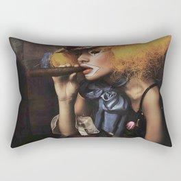 sad Girl clown with old dress smoke a cigar Rectangular Pillow