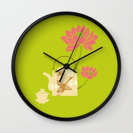 Chinese Antique - teapot and lotus Wall Clock
