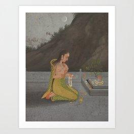 A Night Scene of Shiva - 18th Century Classical Hindu Art Art Print