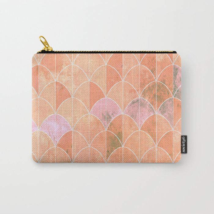 Mermaid scales. Peach and pink watercolors. Carry-All Pouch