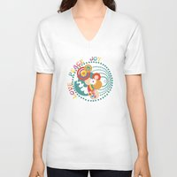 70s V-neck T-shirts featuring 70s Circle  by Louise Machado