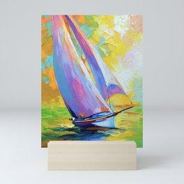 Sailboat at sea at dawn Mini Art Print