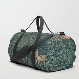 William Morris Forest Fox Greenery apestry Duffle Bag