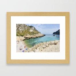 Small Bay Beach \\ Majorca, Spain Framed Art Print