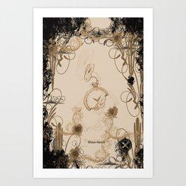tick tock clock rabbit Art Print