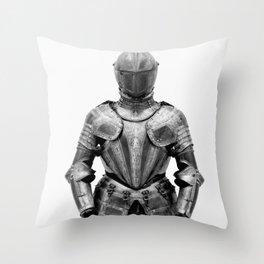 Knight's Silver Battle Armor Photograph (1580) Throw Pillow