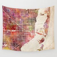 miami Wall Tapestries featuring Miami by Map Map Maps