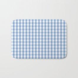 Classic Pale Blue Pastel Gingham Check Bath Mat