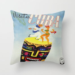 Visit Cuba - Vintage Caribbean Travel Poster Throw Pillow
