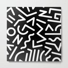 Featured Memphis Pattern (black) Metal Print