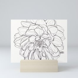 Ink Illustration of a Dahlia Mini Art Print