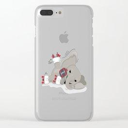 Elephant on skates Clear iPhone Case