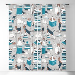 Life is better with books a hot drink and a friend // grey background brown white and blue beagles and cats and turquoise cozy details Blackout Curtain