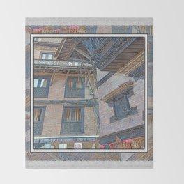 BHAKTAPUR NEPAL BRICKS WINDOWS WIRES Throw Blanket
