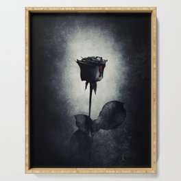 Goth Black Rose Dripping Blood on Black Grunge Serving Tray