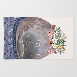 Hippo with flowers on head Rug