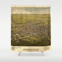 Aerial View of Somerville, New Jersey (1882) Shower Curtain