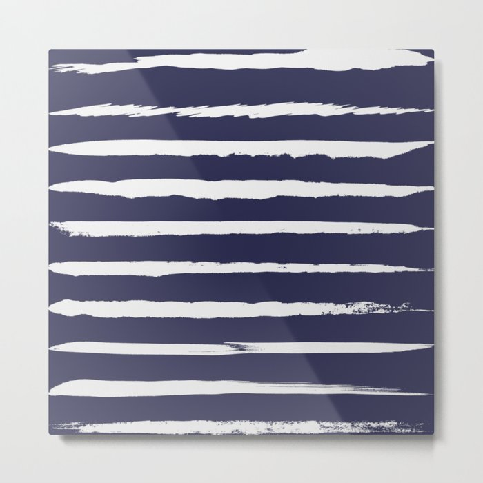 Irregular Hand Painted Stripes Dark Blue Metal Print