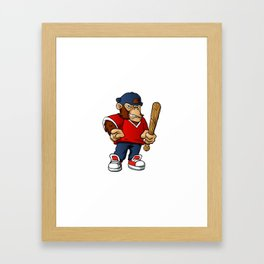 Gorilla Holding Softball Hitting Stick Framed Art Print