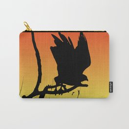 Red-tailed Hawk Taking Flight Silhouette at Sunset Carry-All Pouch