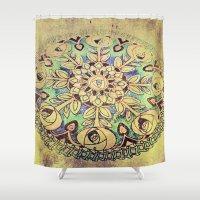 golden Shower Curtains featuring Golden by Maggie Green