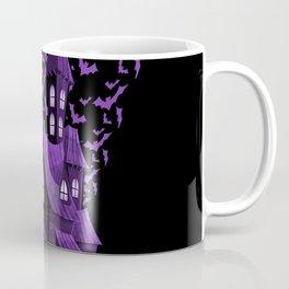 Purple Halloween Haunted House Bat Flyover Coffee Mug