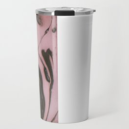 Pink and gray marbled paper III Travel Mug