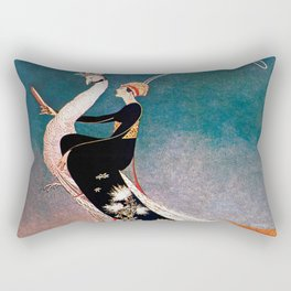 Art Deco White Peacock and Flapper Vintage Art Rectangular Pillow