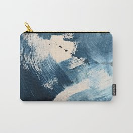 Against the Current: A bold, minimal abstract acrylic piece in blue, white and gold Carry-All Pouch