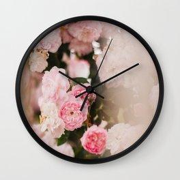 Pink Wild Roses Wall Clock