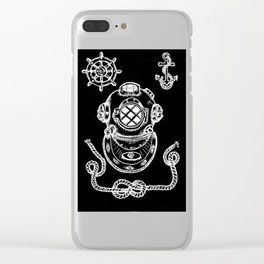 Deep Sea Diver Helmet Illustration Invert Clear iPhone Case