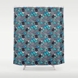 Steampunk Skulls Cogs and Butterflies Pattern Shower Curtain