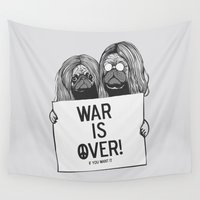 pugs Wall Tapestries featuring War is over Pugs by Huebucket