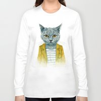 kitty Long Sleeve T-shirts featuring Kitty by Leslie Evans