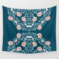 folk Wall Tapestries featuring Folk by katharine stackhouse