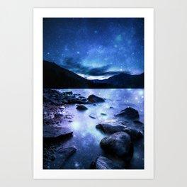 Magical Mountain Lake Blue Art Print