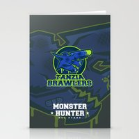 monster hunter Stationery Cards featuring Monster Hunter All Stars - The Tanzia Brawlers by Bleached ink
