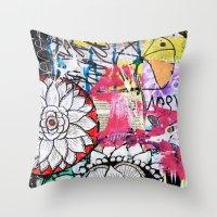 alisa burke Throw Pillows featuring mixed media doodles by Alisa Burke