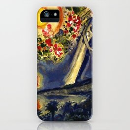 Lovers in the sky over Nice, France by Marc Chagall iPhone Case